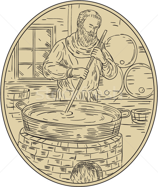 Medieval Monk Brewing Beer Oval Drawing Stock photo © patrimonio