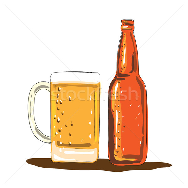 Craft Beer Bottle and Mug Watercolor Stock photo © patrimonio