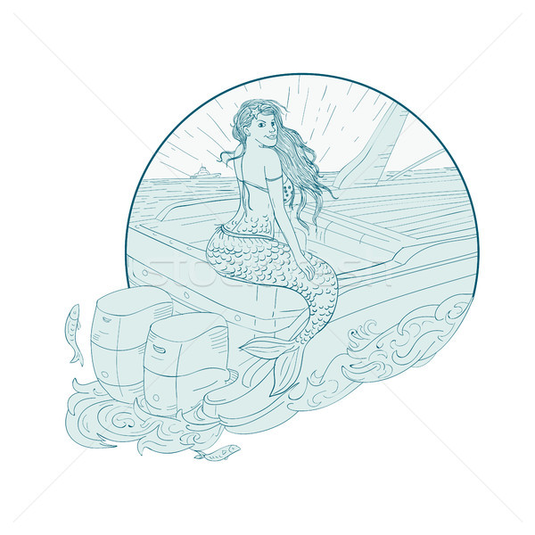 Mermaid Sitting on Boat Drawing Stock photo © patrimonio