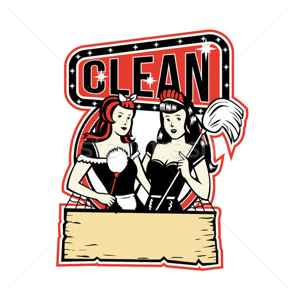 Twin Cleaner Maid Retro Stock photo © patrimonio