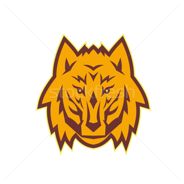Grijs wolf hoofd retro illustratie Stockfoto © patrimonio