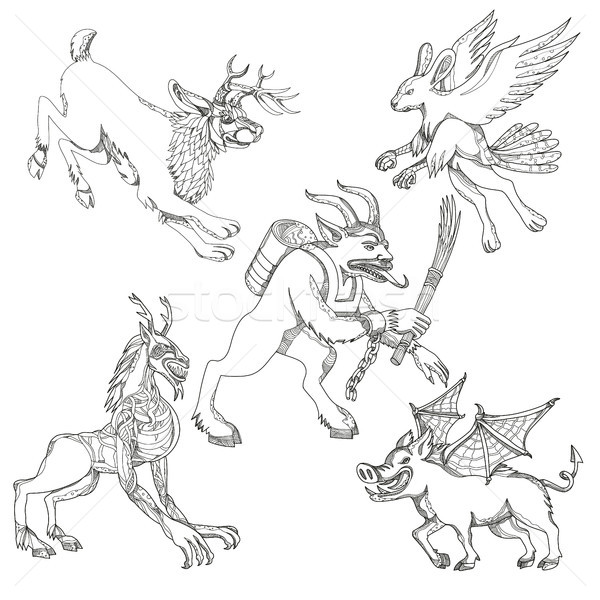 Mythical Creatures Doodle Art Collection Stock photo © patrimonio