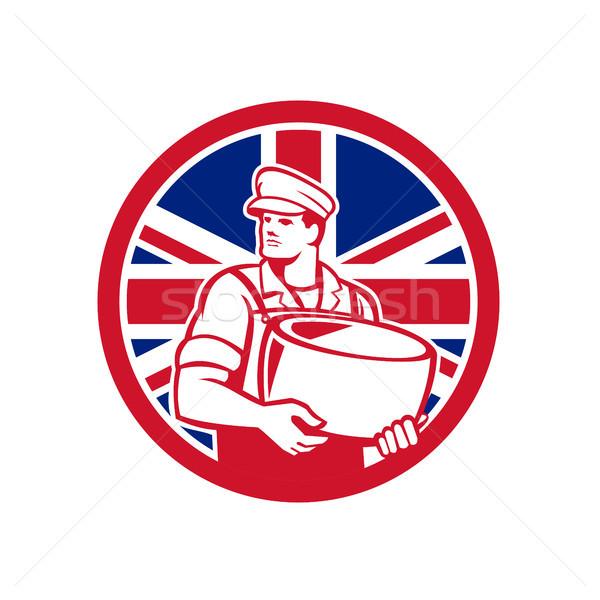 Brit sajt brit zászló zászló ikon retró stílus Stock fotó © patrimonio
