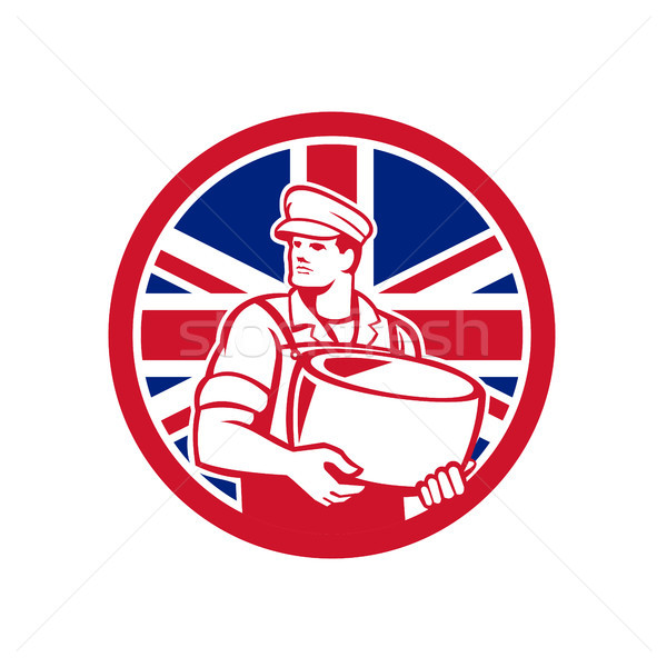 Brits kaas union jack vlag icon retro-stijl Stockfoto © patrimonio