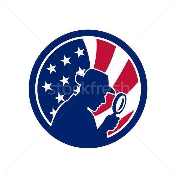 Amerykański USA banderą ikona w stylu retro ilustracja Zdjęcia stock © patrimonio