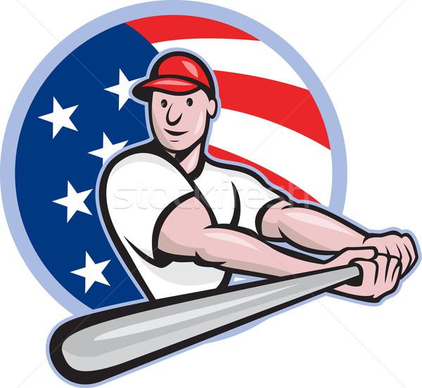 American Baseball Player Batting Cartoon Stock photo © patrimonio