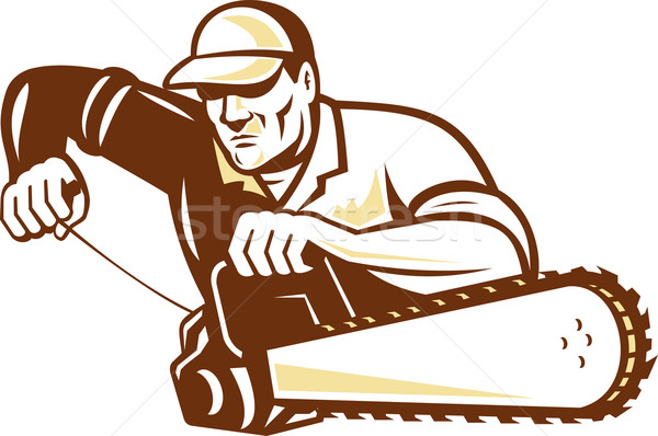 Lumberjack Tree Surgeon Arborist Chainsaw Stock photo © patrimonio