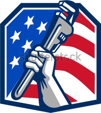 Biztonság cctv kamera fegyver ököl kéz Stock fotó © patrimonio