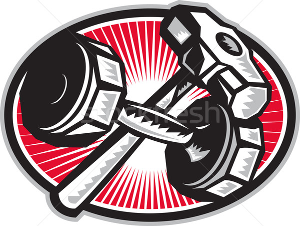 Dumbbell and Sledgehammer Retro Stock photo © patrimonio