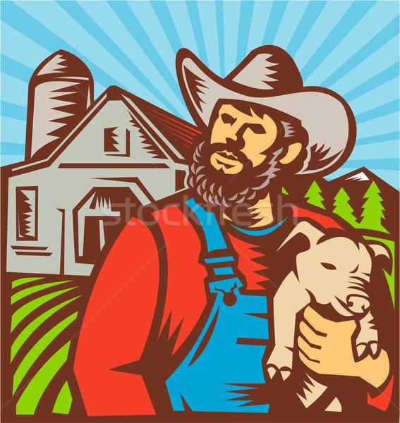 Pig Farmer Holding Piglet Barn Retro Stock photo © patrimonio