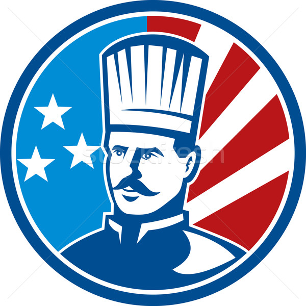 American Chef cook baker with stars and stripes Stock photo © patrimonio