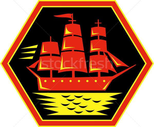 Zeilschip icon illustratie zon zee oceaan Stockfoto © patrimonio