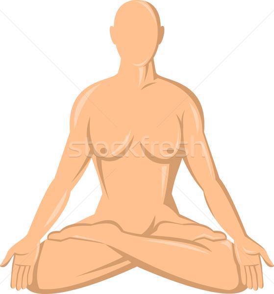 Feminino anatomia humana ioga lótus ilustração isolado Foto stock © patrimonio