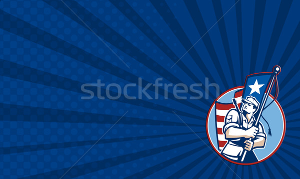 American Patriot Serviceman Soldier Flag Retro Stock photo © patrimonio