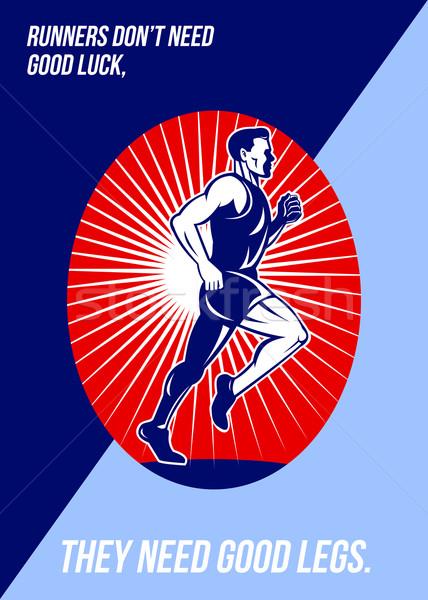 Maraton jó szerencse lábak poszter üdvözlőlap Stock fotó © patrimonio