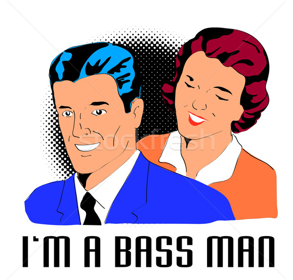 Homme femme basse style rétro illustration Photo stock © patrimonio