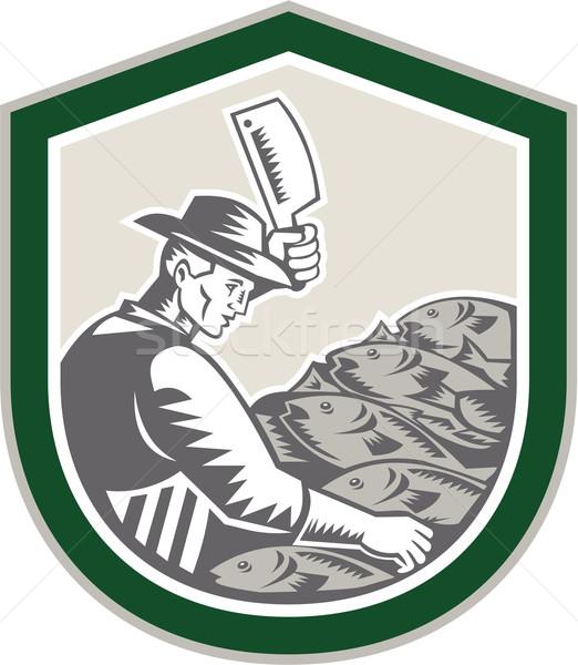 Cotoletta pesce scudo retro illustrazione for Sa fishing face shield review