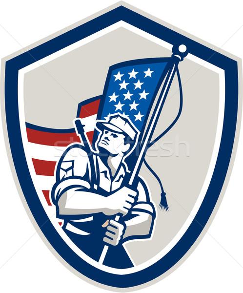 Amerikaanse soldaat sterren vlag Stockfoto © patrimonio