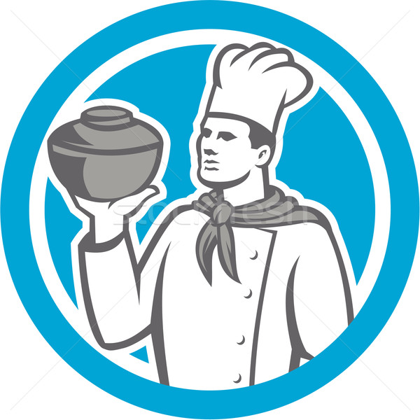Chef Cook Holding Up Pot Retro Stock photo © patrimonio
