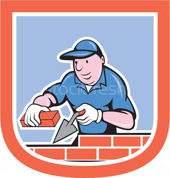 Bricklayer Mason Plasterer Worker Cartoon Stock photo © patrimonio