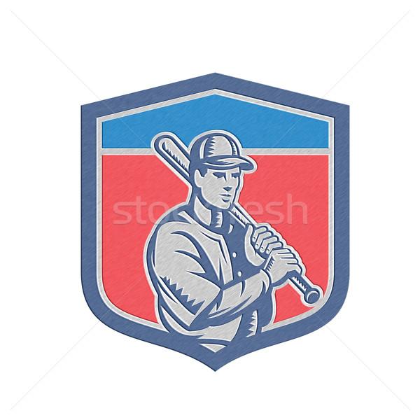 Metallic Baseball Holding Bat Shoulder Retro Stock photo © patrimonio