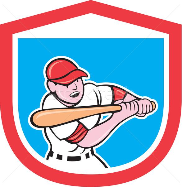 Jogador de beisebol escudo desenho animado ilustração bat estilo Foto stock © patrimonio