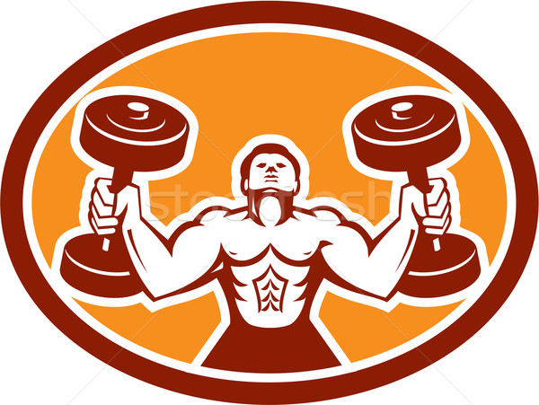 Man Lifting Dumbbell Weight Physical Fitness Retro Stock photo © patrimonio
