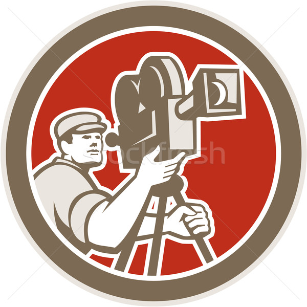 Cameraman Vintage Film Movie Camera Retro Stock photo © patrimonio