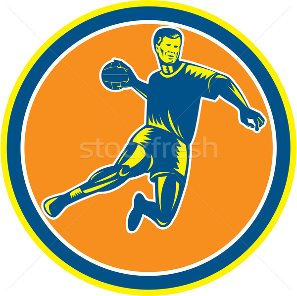 Handball Player Jumping Throwing Ball Circle Woodcut Stock photo © patrimonio