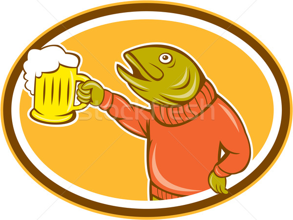 Trout Fish Holding Beer Mug Oval Cartoon Stock photo © patrimonio