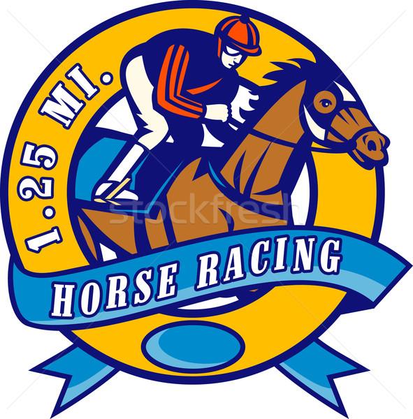 Ló zsoké versenyzés illusztráció szett bent Stock fotó © patrimonio