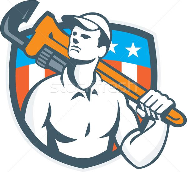 Plumber Holding Wrench USA Flag Retro Stock photo © patrimonio
