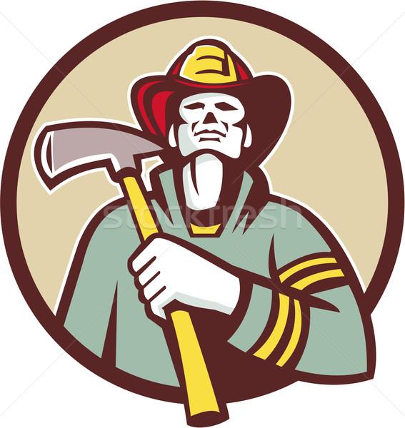 Fireman Firefighter Holding Fire Axe Circle Retro Stock photo © patrimonio