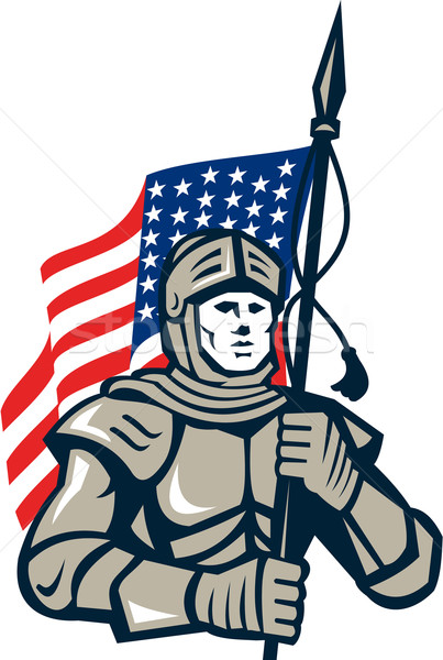 Knight Holding USA Flag Retro Stock photo © patrimonio