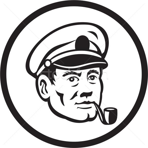 Sea Captain Smoke Pipe Circle Retro Stock photo © patrimonio