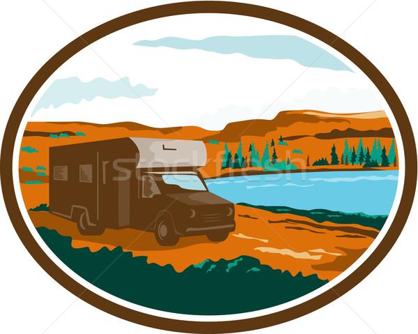 RV Camper Van Desert Scene Oval Retro Stock photo © patrimonio