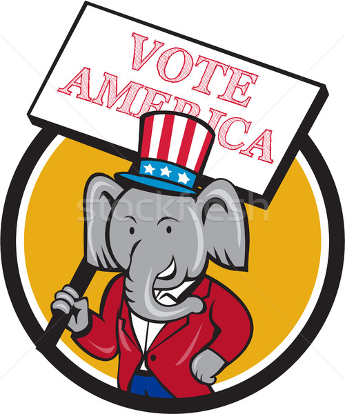 Republican Elephant Mascot Vote America Circle Cartoon Stock photo © patrimonio