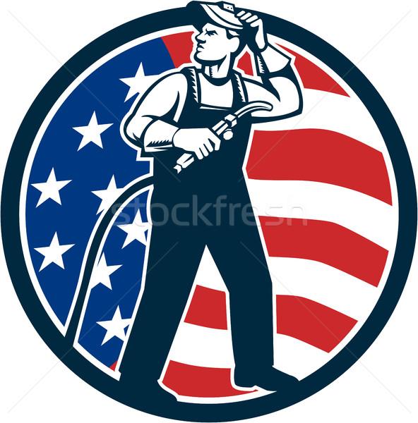 Stock fotó: Hegesztő · áll · felfelé · USA · zászló · kör