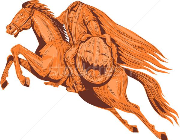 Sütőtök fej rajz rajz stílus illusztráció Stock fotó © patrimonio