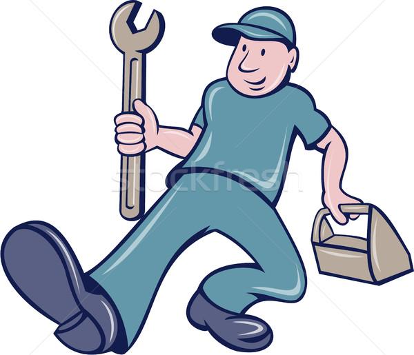 Mechanic Spanner Foot Forward Cartoon Stock photo © patrimonio