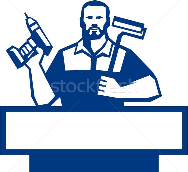 Handyman Bearded Cordless Drill Paintroller Retro Stock photo © patrimonio