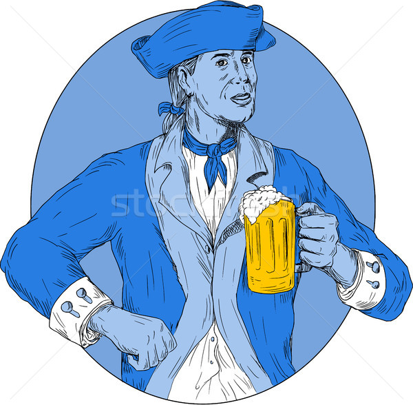 Amerikaanse patriot bier mok ovaal Stockfoto © patrimonio