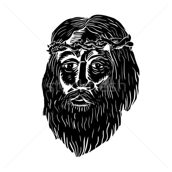 Cristo coroa ilustração jesus cara Foto stock © patrimonio