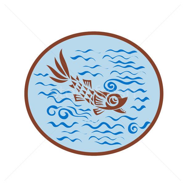 Middeleeuwse vis zwemmen ovaal retro retro-stijl Stockfoto © patrimonio