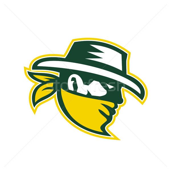 зеленый бандит талисман ретро-стиле иллюстрация грабитель Сток-фото © patrimonio