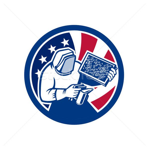 American Beekeeper USA Flag Icon Stock photo © patrimonio