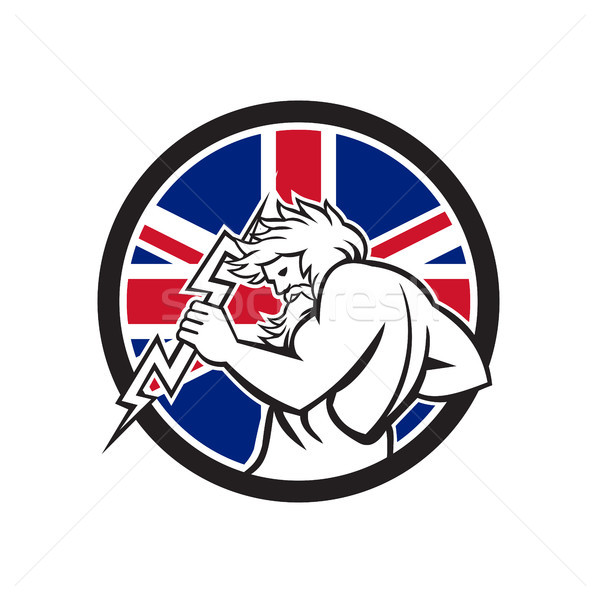 Zeus With Thunderbolt Union Jack Flag Icon Stock photo © patrimonio