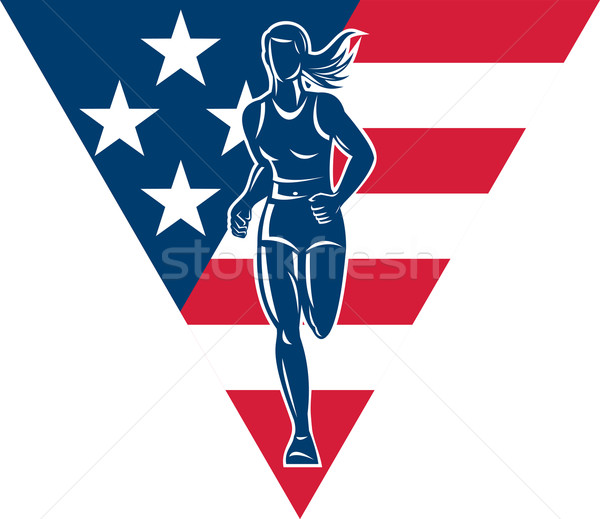 American Marathon runner stars stripes Stock photo © patrimonio
