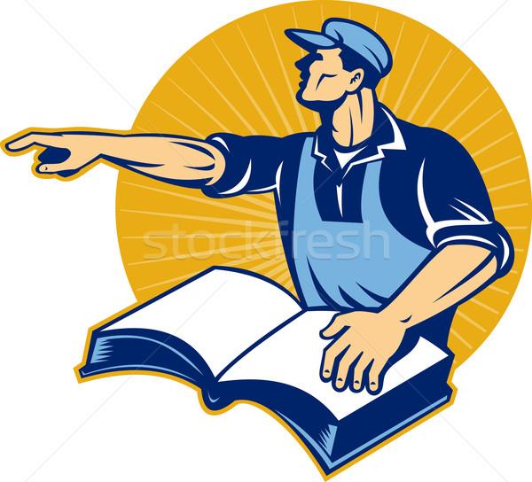 Stok fotoğraf: Işçi · adam · okumak · kitap · işaret