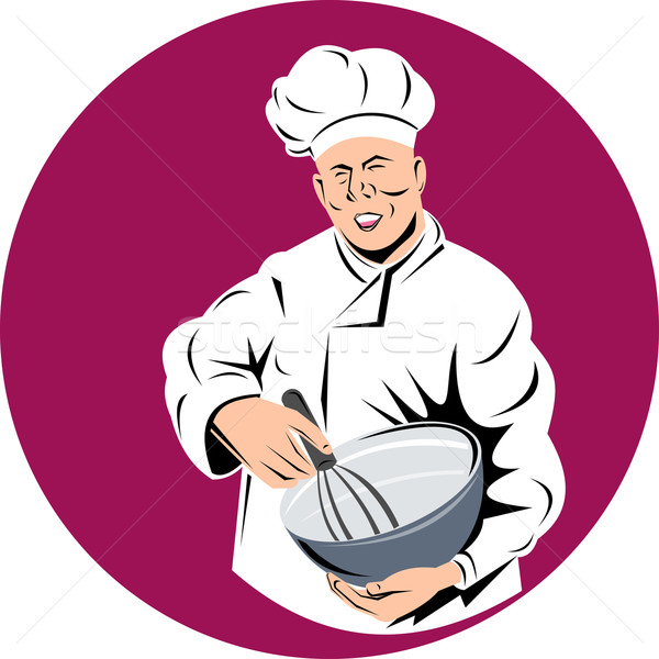 chef cook baker holding mixing bowl Stock photo © patrimonio
